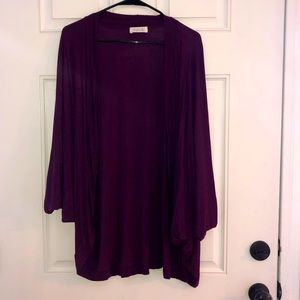 Hourglass Lilly purple open front cardigan; L